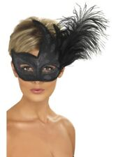 Ornate Colombina Feather Mask Adult Unisex Smiffys Fancy Dress Masks