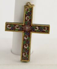 ANTIQUE Jewelry CHINESE EXPORT Cloisonne ENAMEL RELIGIOUS CROSS PENDANT