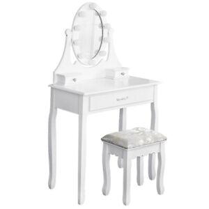 Coiffeuse Table de maquillage - Coiffeuse avec bande lumineuse LED et tabouret