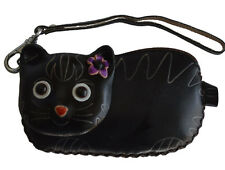 Leather Change Purse/Wallet,Credit/Id Cards Holder,Black Beauty Lady Cat Pattern