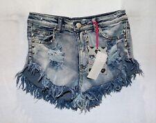 Cosmic Jeans Brand 'Hayley' High Cut Fray Edge Denim Hotpants Size 10 BNWT #TN61