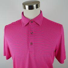 Bobby Jones Mens Stretch Polyester X H2O Ss Neon Coral Striped Golf Polo Shirt M