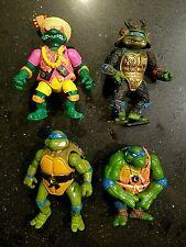 Lot of 4x Preowned 1990s Teenage Mutant Ninja Turtles Action Figures Vintage Toy