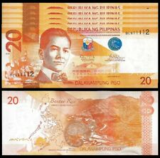 Philippines 20 Piso 2015 , UNC , 5 PCS Consecutive Lot , P-206 , Prefix DL