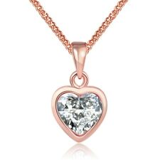 Rose Gold Plated Necklace  Women's Pendant Heart  AAA Zirconia B120
