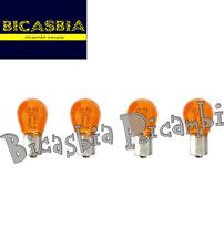 6578 - 4 LAMPADINE ARANCIONI PER FRECCE VESPA 125 150 200 PX - ARCOBALENO BICAS