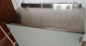 Tavolo Banco Lavoro ristorazione - PIANO ACCIAIO Inox - ante scorrevoli legno