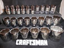 "Craftsman 24pc 1/2"" METRIC 12pt Point LASER ETCHED Sockets Set Tools MM Drive"
