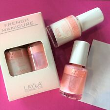 LAYLA french manicure KIT BIANCO E ROSA 10ML+10ML LUNETTE ADESIVE NEW