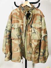 Vintage US Army Military M-65 Vietnam Woodland Camo Cold Weather Jacket Coat XL