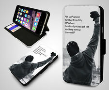 Rocky Balboa Boxing Champ Winning Quotes Leather Wallet Flip Phone Case Cover