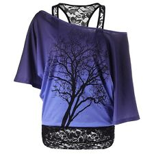 Women Off-shoulder T-shirt Plus Size Loose Short Sleeve Blouse Tops Summer Shirt