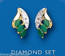 Emerald and Diamond Earrings Yellow Gold Marquise Stud Solid Hallmarked
