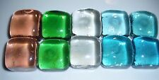 D00296 Set of 10 Square Glass Mixed Gems,Crafts,Jewelry,OOAK,Dolls,Floral,Tile