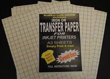 A3 A Getto D'inchiostro Ferro Su T-Shirt Trasferire Carta per Tessuti Scuri 20 Fogli