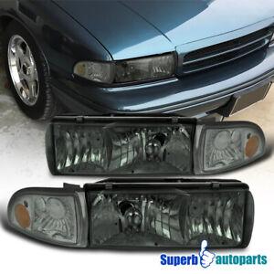 For 1994-1996 Chevy Impala Smoke Headlights Head Lamp w/ Corner Lights