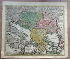 BALKANS GREECE 1720 JB HOMANN LARGE ANTIQUE ENGRAVED MAP 18TH CENTURY