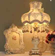 Vintage White Lace Resin Antique Elegant Table Lamp Bedside Desk Light