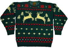 1989 EDDIE BAUER 100% Wool Nordic Reindeer Christmas Sweater Mens Womens Size L