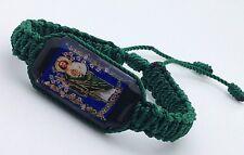 Pulsera de San Judas doble tejida hecha a mano en color verde (2)
