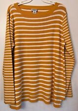 Liz Claiborne Women's Ribbed Knit Yellow/White Stripe Sweater Scoop Neck