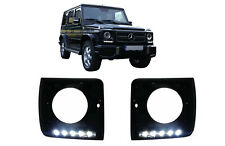 Headlights Covers Black LED DRL For Mercedes G-Class W463 89+ G65 AMG Look Black