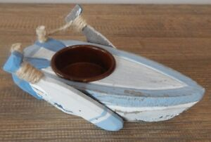 WOOD BOAT & OARS TEALIGHT HOLDER NAUTICAL SEA THEME RUSTIC STYLE HOME GARDEN