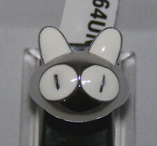 ALAMODE SIZE 8 PUSSY CAT STATEMENT RING - STAINLESS STEEL - WHITE EPOXY