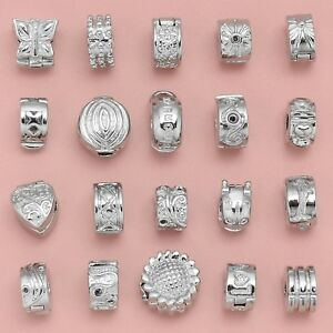 RUBYCA Silver Clips Beads Stopper Charm Fit European Bracelet w/ Silicone O-Ring