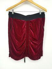 BCBG MAXAZRIA Red Velvet Skirt 12 Pockets Zip Up Elastic Waist Lined Silk Blend