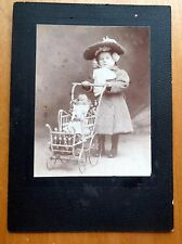 Antique CABINET CARD  LITTLE GIRL ANTIQUE DOLL VICTORIAN PRAM STROLLER