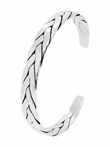 ICONIC Men's Braided 925 Silver Cuff Bangle Bracelet