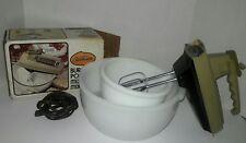 Vintage Sunbeam Mixmaster Hand Mixer - Avocado and Glassbake Bowl Set