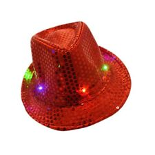 Flashing Light Up Led Fedora Trilby Sequin Unisex Fancy Dress Dance Party Hat.#