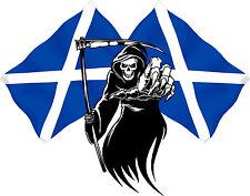 Racing Grim Reaper Skull Scotland Flag Car MotorBike Bike Van Sticker LSGRSco2l