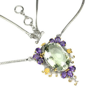 Handmade Oval Green Amethyst 25.28ct Amethyst 925 Sterling Silver Necklace
