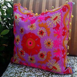 Suzani Pillow Cushion Cover Embroidered Multicolor Sofa Home Decorative Case