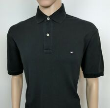 """Tommy Hilfige Mens Polo Shirt Black Top Size M Chest 42"""" Golf 40s Two Ply RRP£75"""