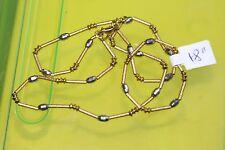 "Fancy Bar Links Chain Necklace 18"" Women C Lqqk Gorgeous 18K Yellow & White Gold"