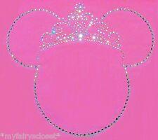 "6.5"" Princess Minnie Mouse Tiara iron on rhinestone transfer applique patch"