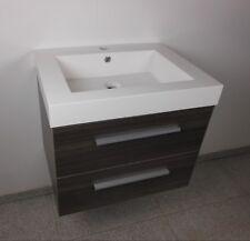 Waschtisch 80 cm Badmöbel Set Unterschrank Waschbecken graue Walnuss