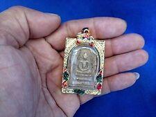 Phra Somdej 2 Face Wat Phra Kaew Case Steel Gold micornThai Buddha Amulet free