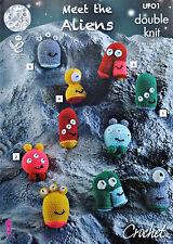 Crochet Pattern soddisfano gli alieni prima parte GIOCATTOLI farciti motivo DK King Cole UFO1