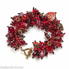 "Bracelet ""Hearts 4 U"" Red glass, crystal and pewter beads galore! Fringe Magic"