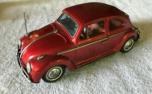 """1960's BANDAI 10.5"""" Volkswagen VW BEETLE With Driver, Tin WORKING Battery op"""