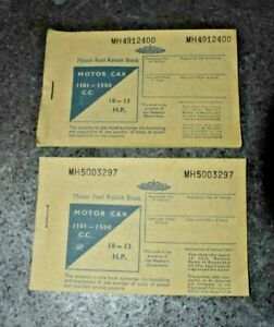 2 x MOTOR FUEL RATION BOOK FROM THE 1950's UNUSED AND IN GOOD CONDITION