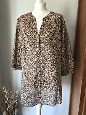 Bnwt Next UK 20 Animal Print Cotton Over Shirt Blouse Smart Casual