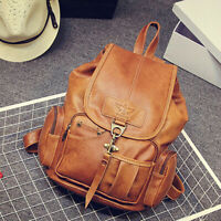 Women Leather Vintage Backpack Shoulder School Travel Bag Satchel Rucksack Tote