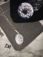925 Sterling Silver Oval St Christopher Necklace With Gift Pouch