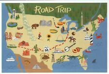 U.S. Road Trip Map, Route 66, Space Needle, Hollywood etc. --- Modern Postcard